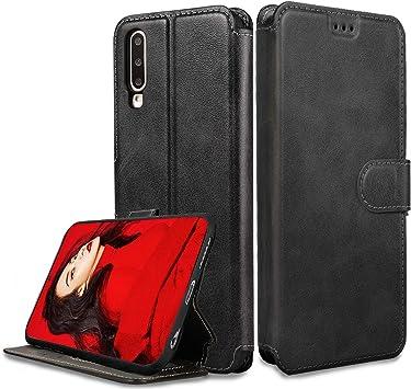 LeYi Funda para Samsung Galaxy A30S / A50S con HD Protector Pantalla, Carcasa Libro Tapa Silicona TPU Bumper Leather Soporte Cuero Cartera Flip Wallet Slim Antigolpes Case Cover para Movil A30S, Negro: