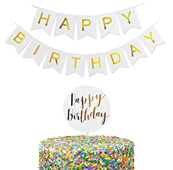 TECCA Happy Birthday Cake Topper and Banner Set - Clear Acrylic Plastic  with Gold Foil Lettering - Food