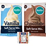 Frostline Lactose Free Soft Serve Mix Variety, Chocolate and Vanilla 6 Pound Bags with By The Cup Rainbow Sprinkles