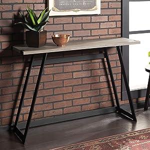 """WE Furniture AZF46MWETGW Entryway Table, 46"""", Grey Wash"""