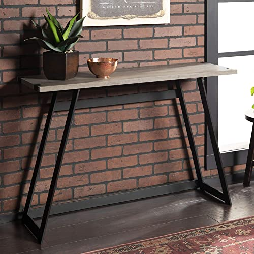 WE Furniture Industrial Farmhouse Round Accent Entryway Table, 46 Inch, Grey