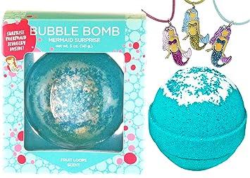 6e06b881611a Amazon.com   Mermaid BUBBLE Bath Bomb with Surprise Necklace Inside ...
