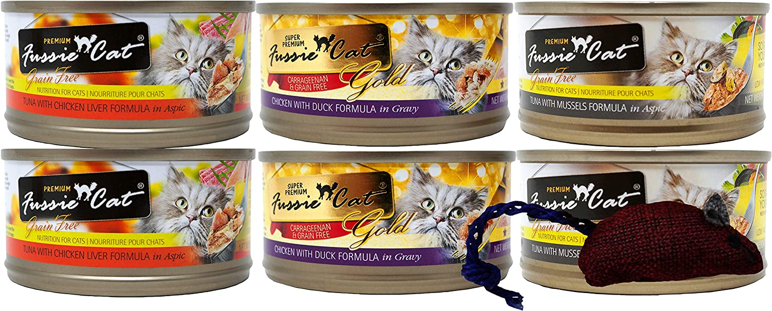 Fussie Cat Premium Grain Free Adult Cat 3 Flavor Variety 6 Can Bundle with Toy, 2 Each: Tuna Chicken Liver, Chicken Duck, Tuna Mussels (2.82 Ounces)