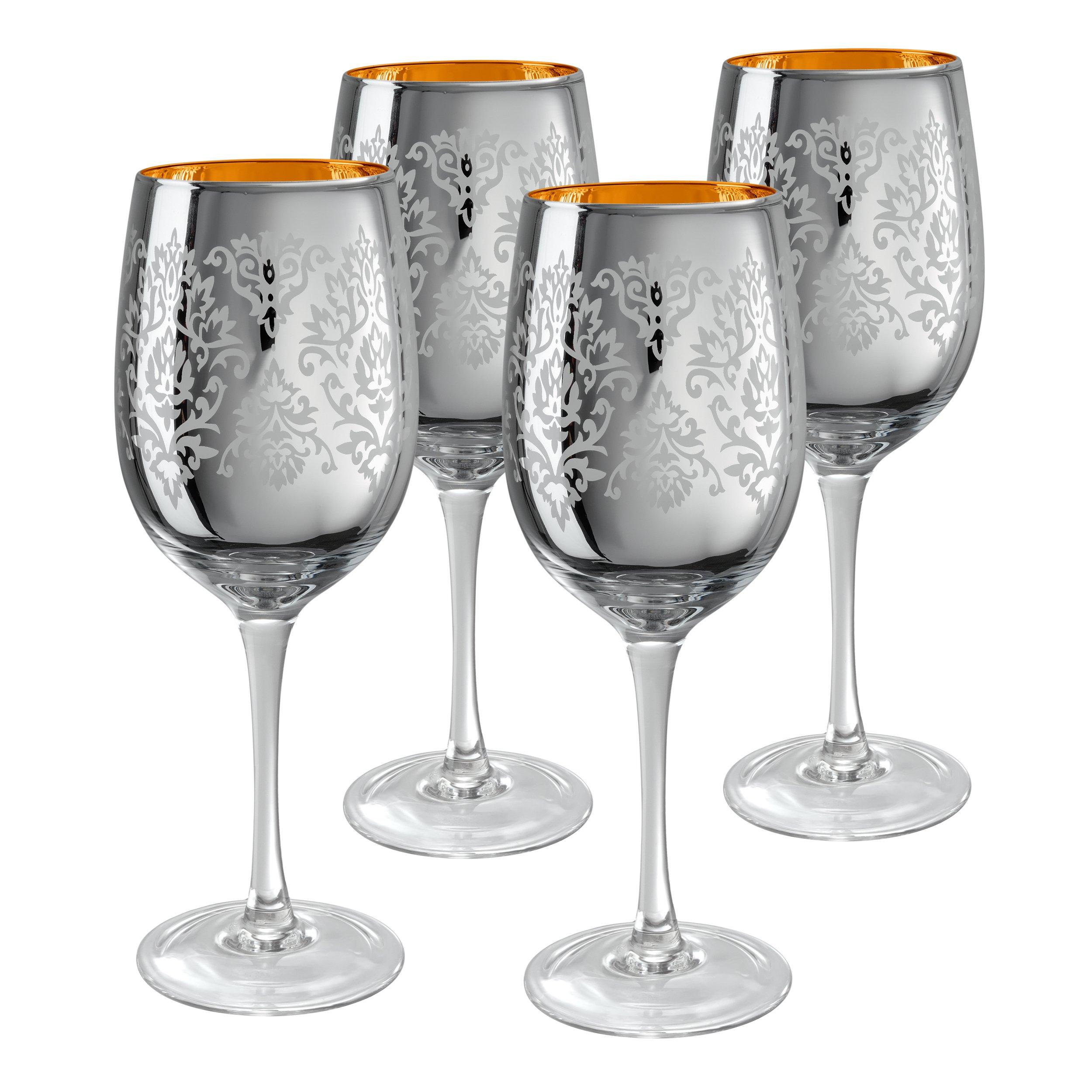 Artland Brocade Wine Glass, 15 oz, Silver, Set of 4