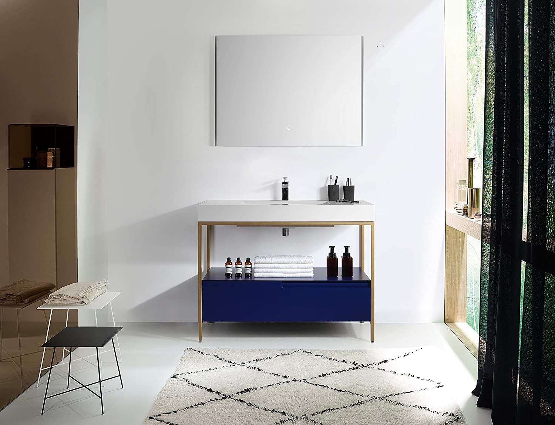 Amazon Com Texel 42 Navy Blue Industrial Style Free Standing Bathroom Vanity Kitchen Dining