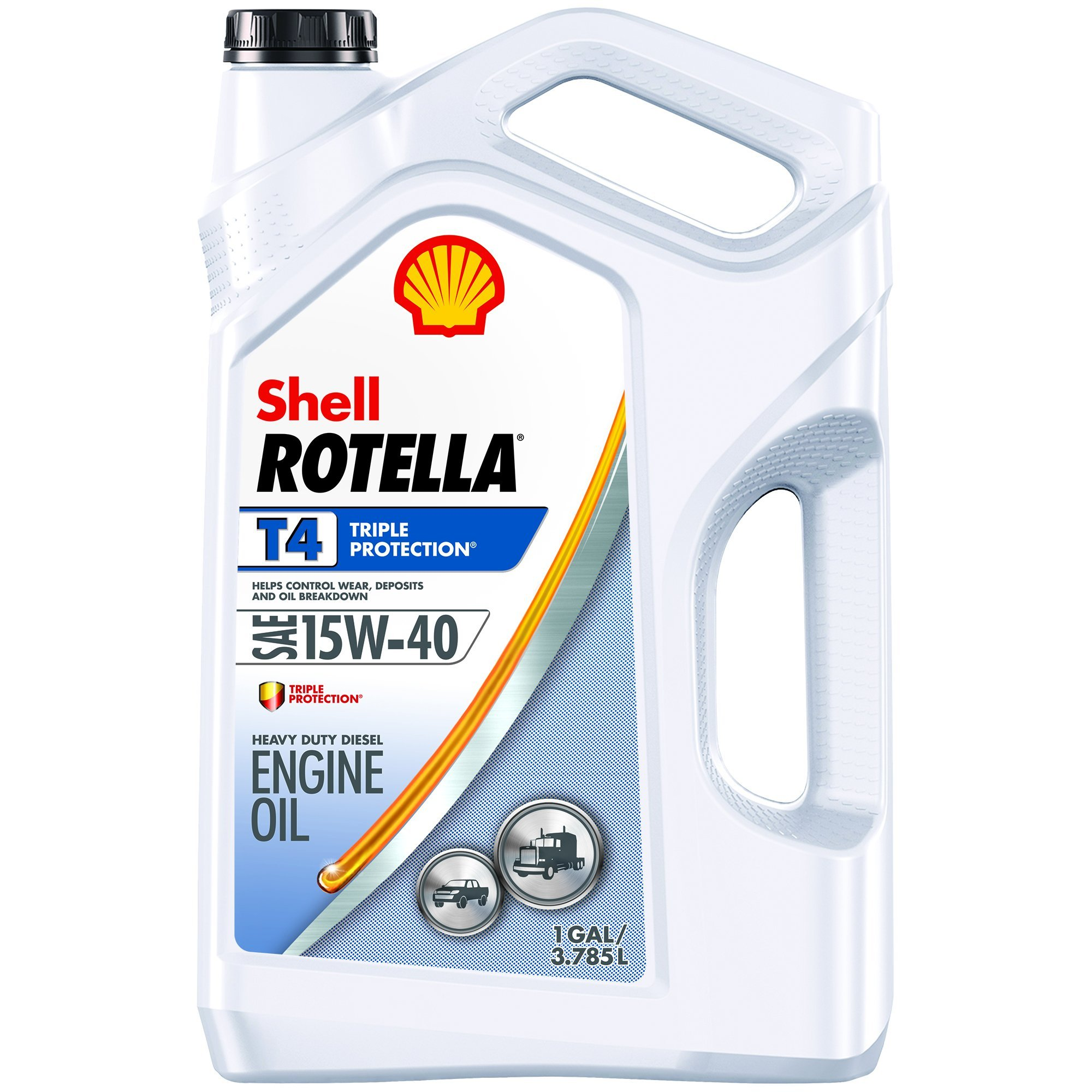 Shell ROTELLA T4 Triple Protection 15W-40 Diesel Oil, Heavy Duty Engine Oil (Formerly Shell ROTELLA T), 1 Gallon by Shell Rotella T