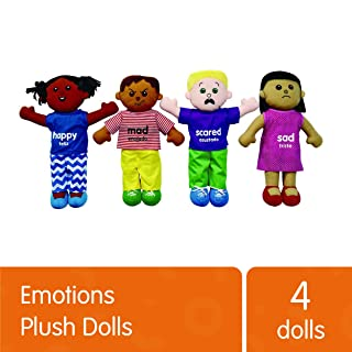 Excellerations 18 Inch Emotions Plush Baby Dolls Set of 4 Dolls, Multi-Ethnic boy and Girl Doll Faces and Bodies Express 4 Common Emotions, Special Needs
