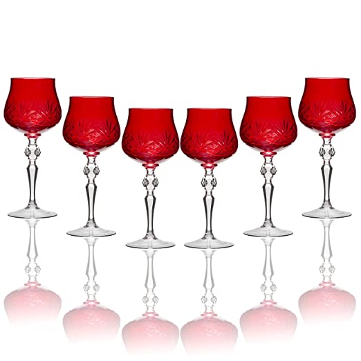 Christmas Tablescape Decor - Handmade Russian red cut crystal old-fashioned long stem wine goblets - Set of 6