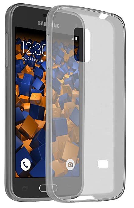 mumbi UltraSlim Hülle für Samsung Galaxy S5 mini Schutzhülle transparent schwarz (Ultra Slim - 0.55 mm)