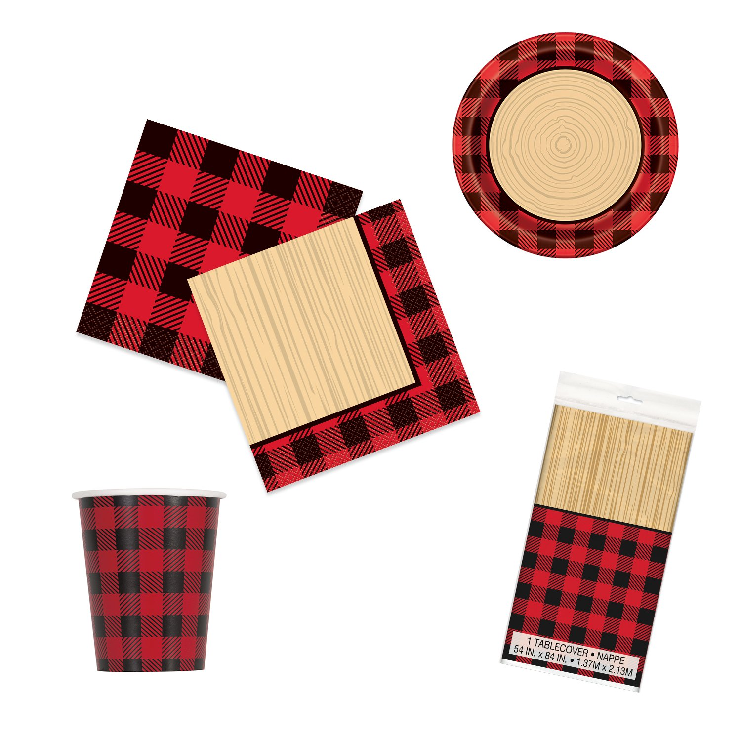Unique Plaid Lumberjack Party Bundle | Luncheon & Beverage Napkins, Dinner Plates, Table Cover, Cups | Great for Country/Rustic Birthday Themed Parties