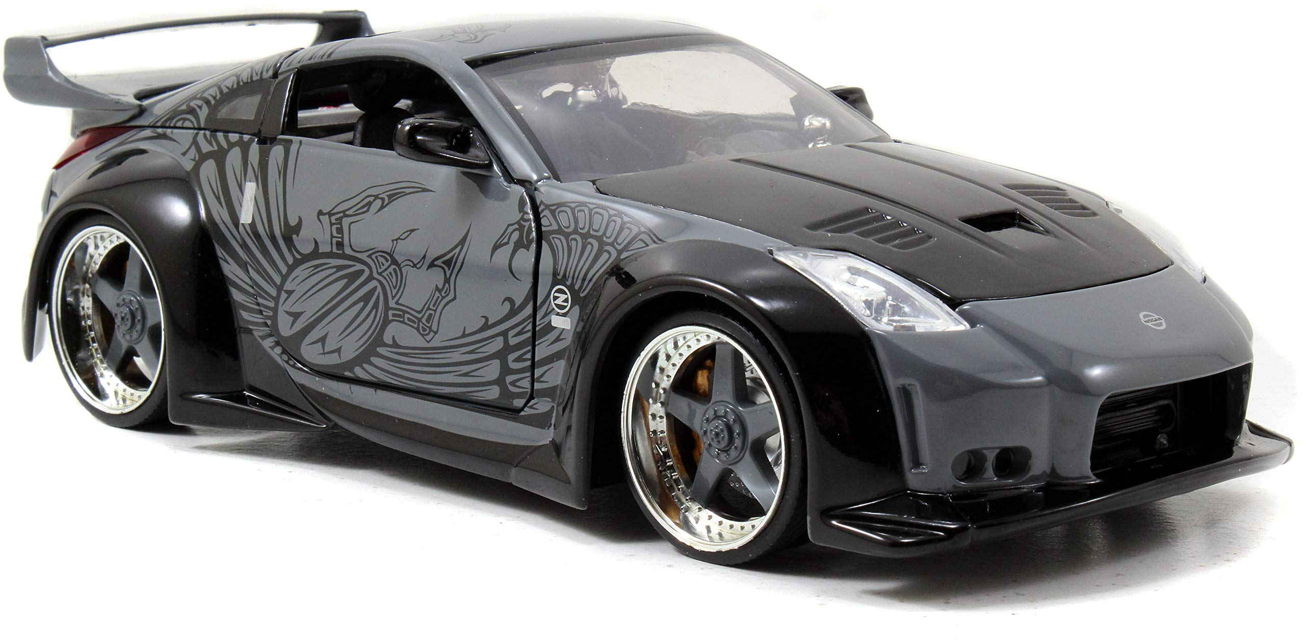 Jada Toys Fast & Furious 1:24 D.K.'s Nissan 350Z Die-cast Car, Toys for Kids and Adults, Grey and Black (97172)