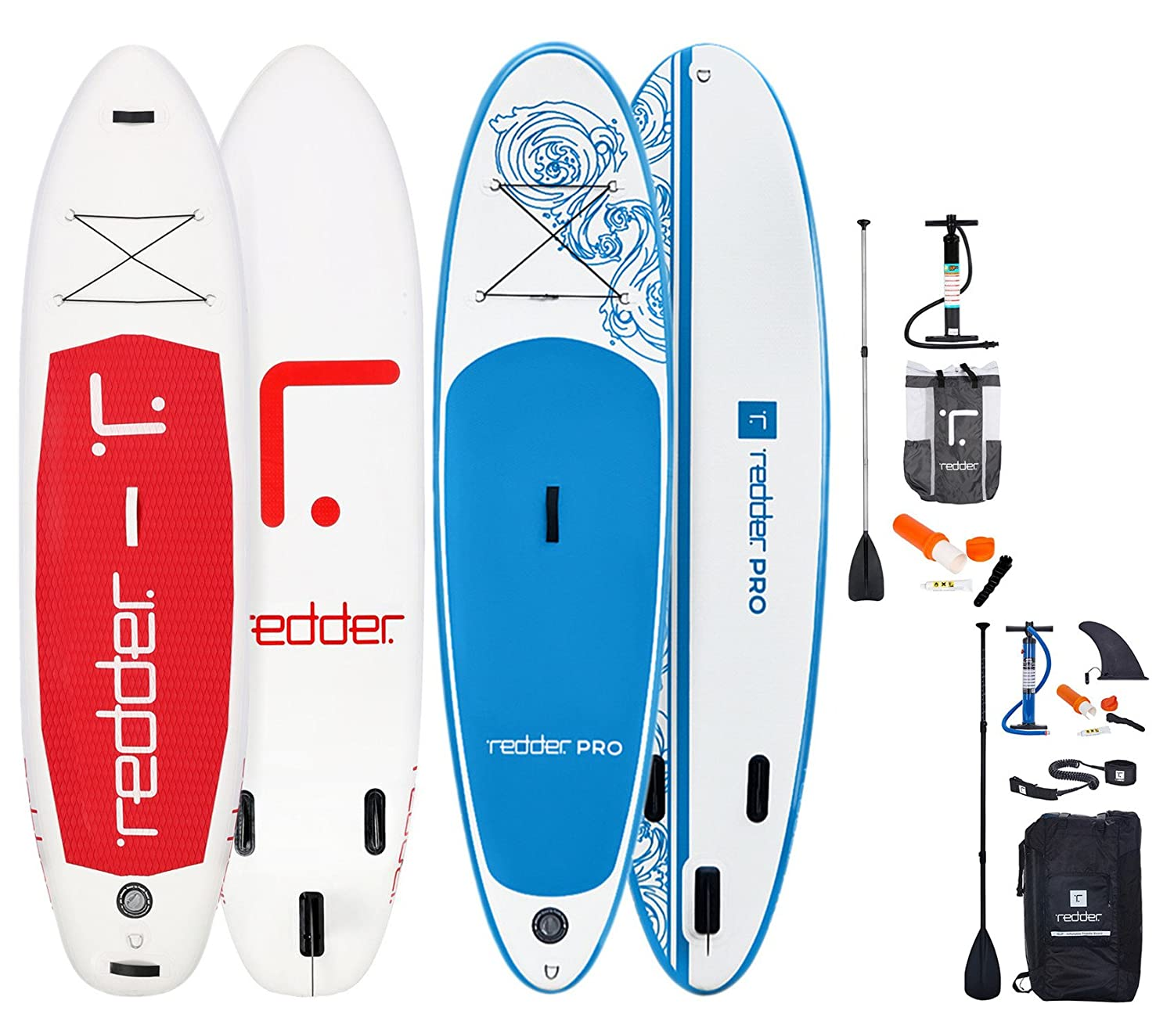 REDDER Pack De 2 Tablas Paddle Surf Hinchables 10 VORTEX Pro + CLASSIC All Round Tabla Stand Up Paddle - KIT con Bravo SUP3 Inflador, Carbono y Fibra de ...