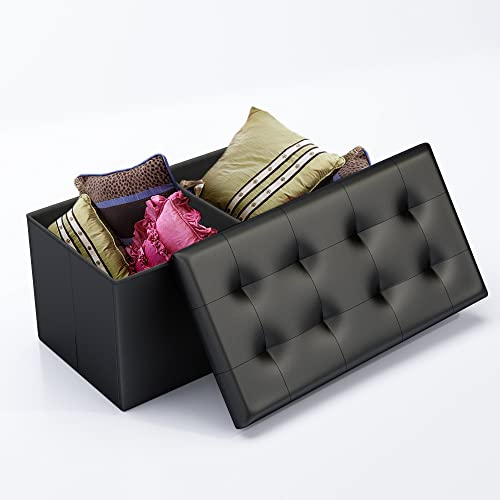 Home-Complete Storage Ottoman-Faux Leather Rectangular Bench