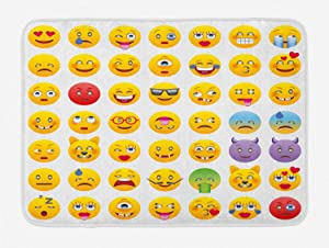 """Ambesonne Emoji Bath Mat, Cartoon Like Smiley Faces of Mosters Happy Sad Angry Furious Moods Expressions Print, Plush Bathroom Decor Mat with Non Slip Backing, 29.5"""" X 17.5"""", Yellow"""