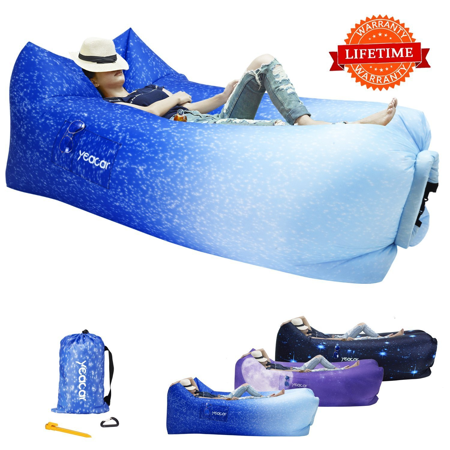 yeacar yeacar Inflatable Lounger Air Sofa, Portable Waterproof Indoor or Outdoor Inflatable Couch for Camping Park Beach (並行輸入品) B07CRLFX6X One Size|Dreamy Ocean Dreamy Ocean One Size