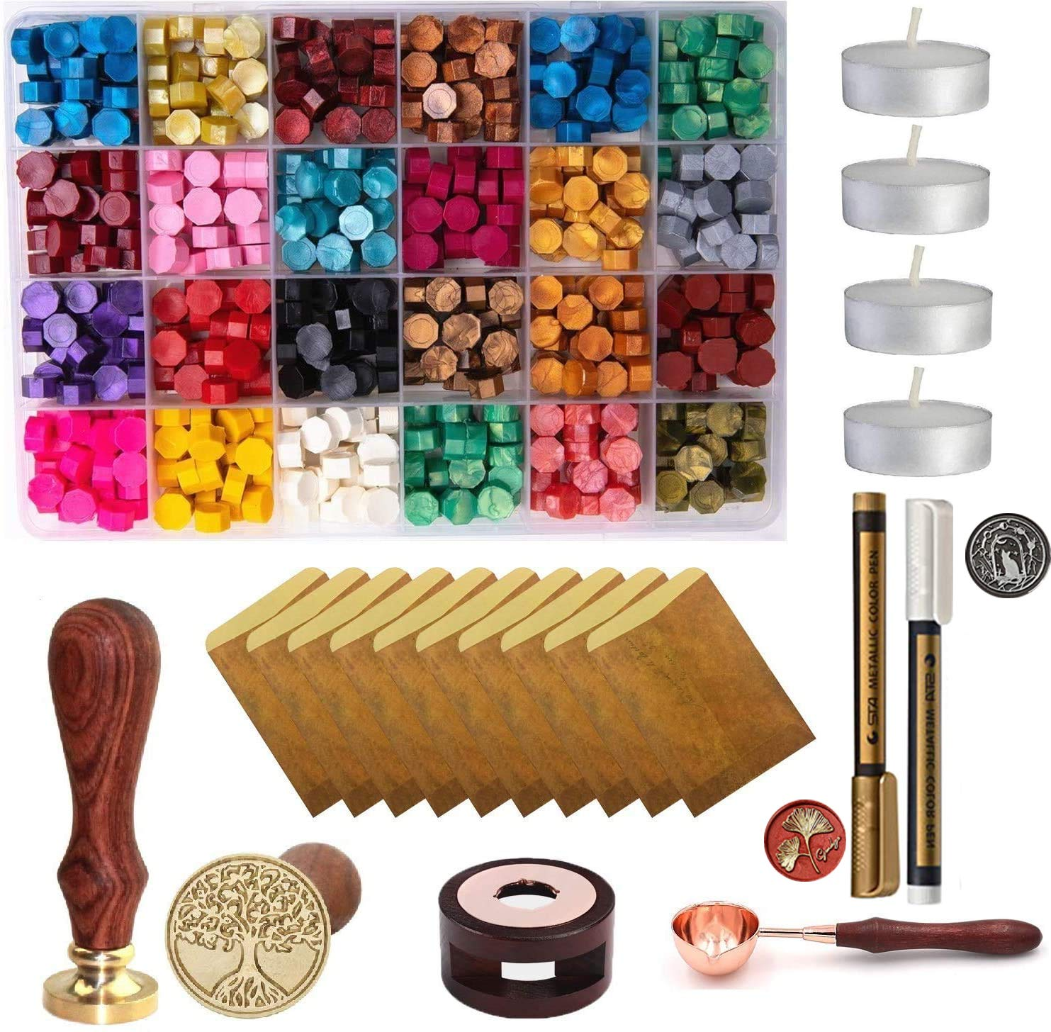 200 Pcs Octagon Wax Seal Beads with Candles and Melting Spoon for Wax Seal Stamp Teal Blue Sealing Wax Beads