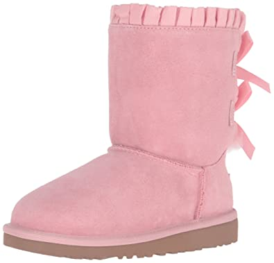 UGG Kids Girls' Bailey Bow Ruffles (Big), Baby Pink, 3 Little