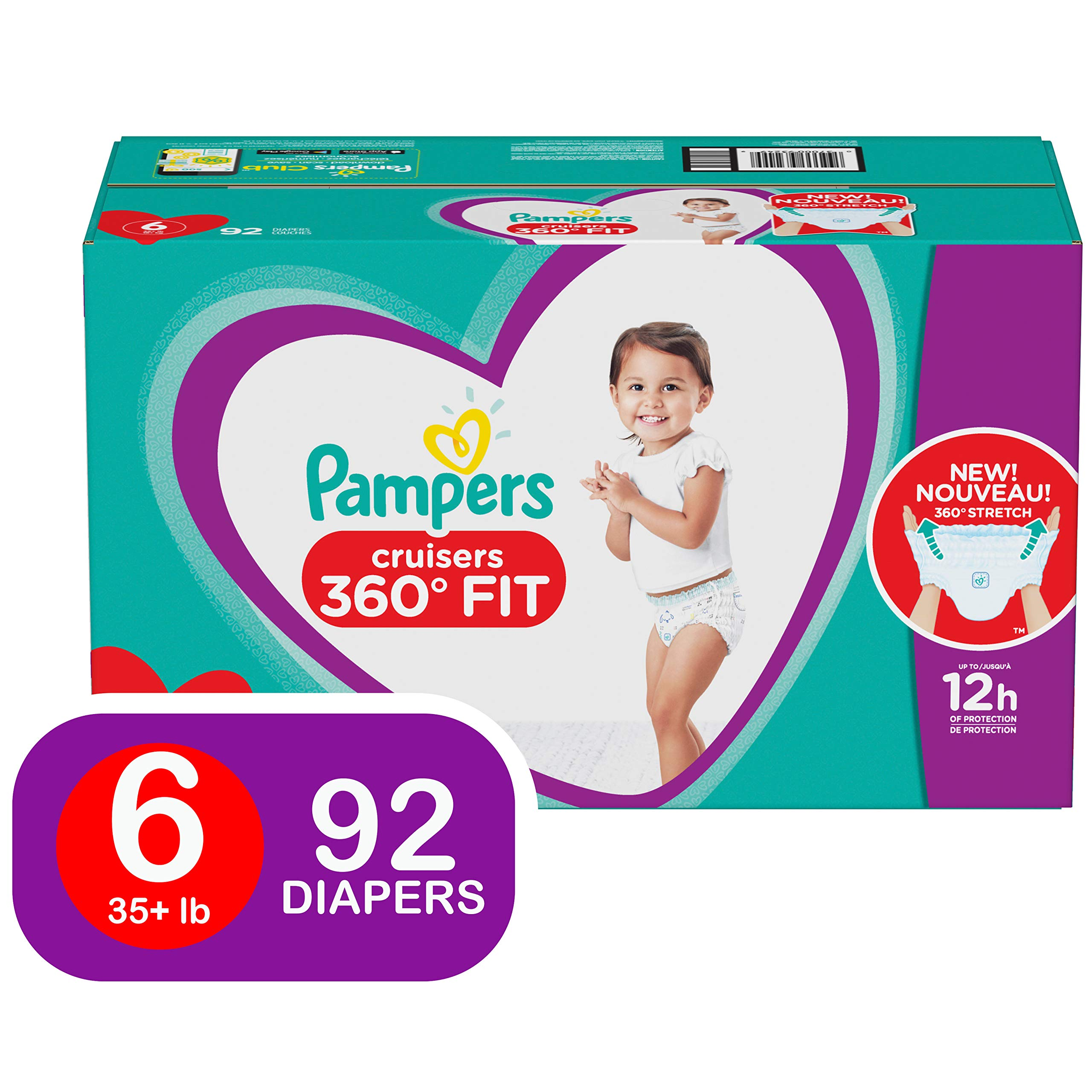 Diapers Size 6, 92 Count - Pampers Pull On Cruisers 360˚ Fit Disposable Baby Diapers with Stretchy Waistband, ONE MONTH SUPPLY