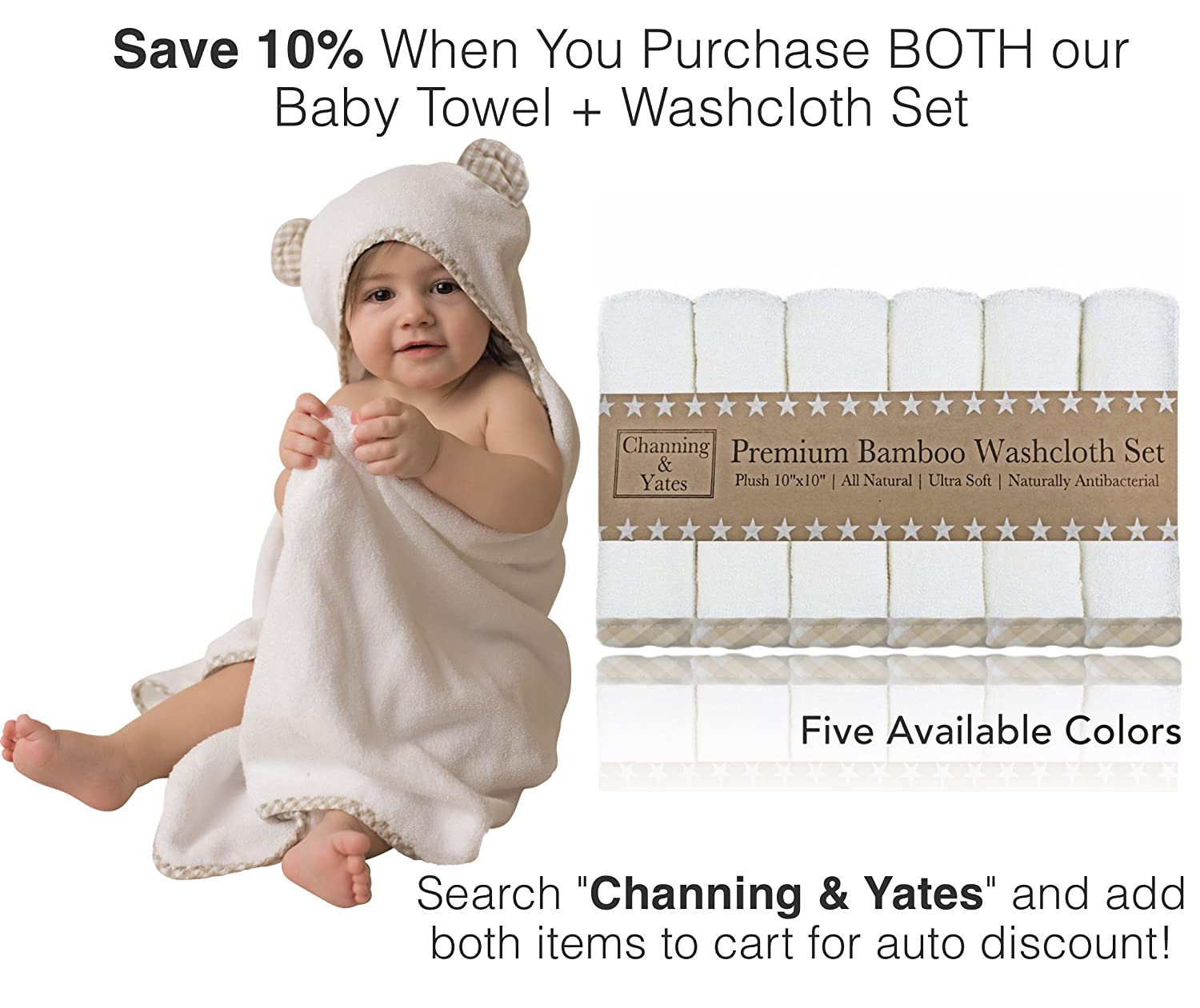 Premium Baby Towel with Hood and Washcloth Gift Set - Organic Baby Towels and Washcloths - Bamboo Hooded Towels for Baby - Hypoallergenic Large Toddler Towels for Boys or Girls (Beige/White)