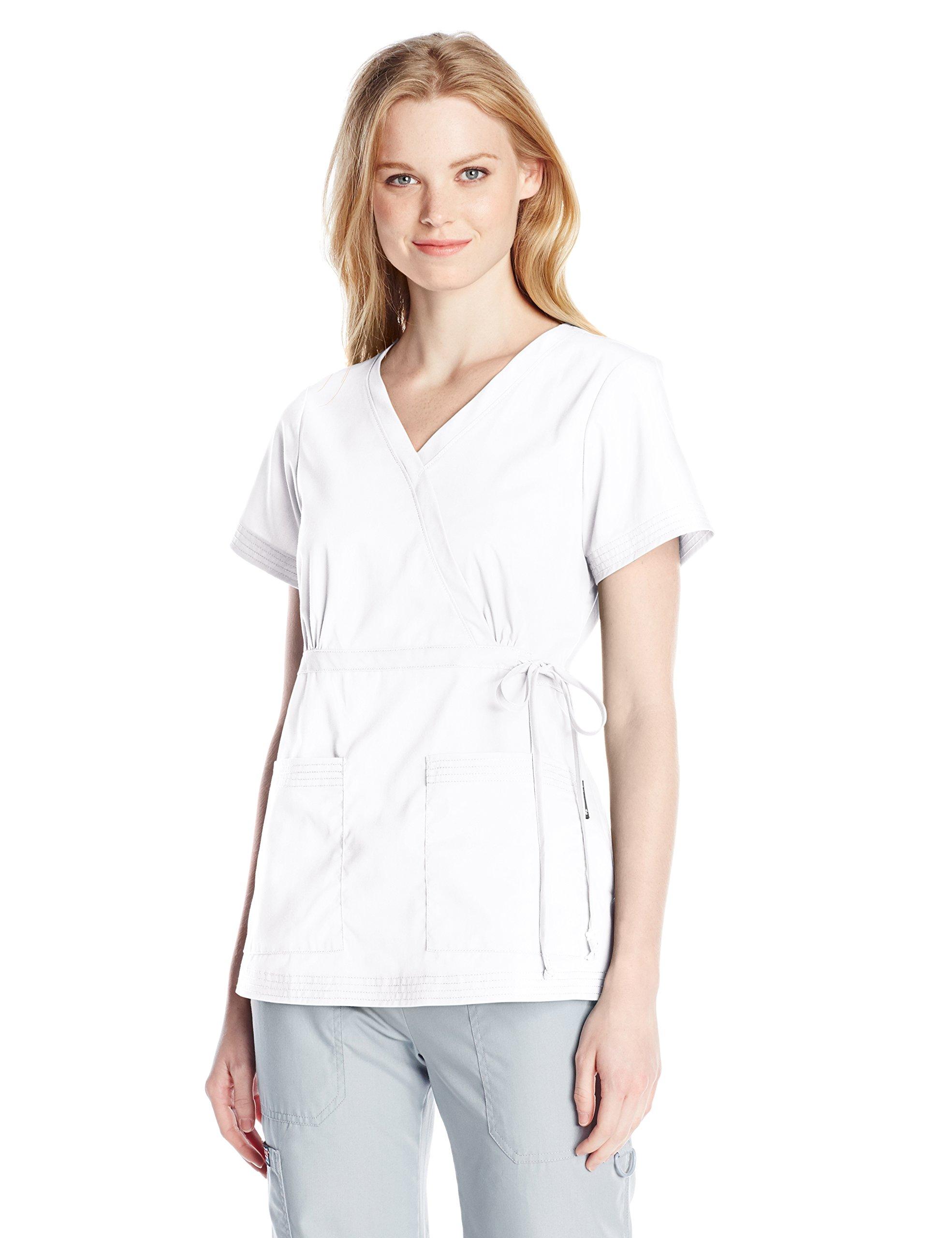 KOI Women's Katelyn Easy-Fit Mock-Wrap Scrub Top with Adjustable Side Tie, White, Large