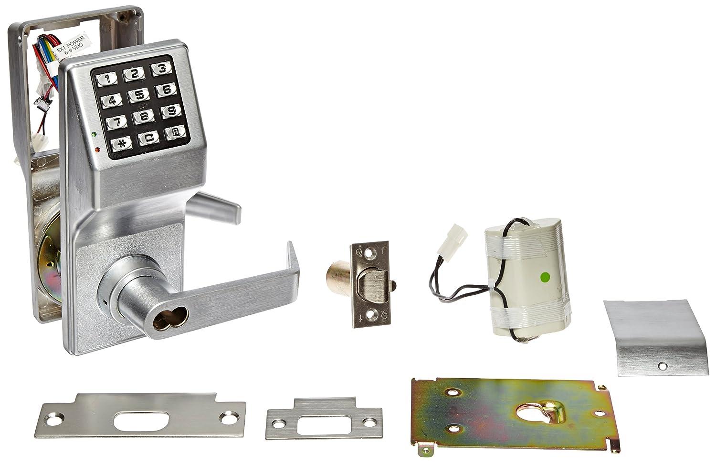 Alarm Lock T2 100-User Standalone Electronic Digital Keypad Cylindrical Lock Leverset with Interchangeable Core Best, Satin Chrome Finish