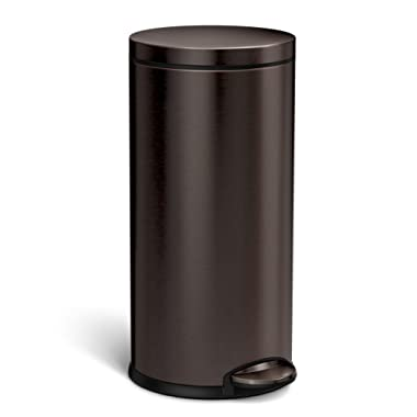 simplehuman CW2046 Round Step Trash Can, 35 Liter (9 Gallon), Dark Bronze Stainless Steel