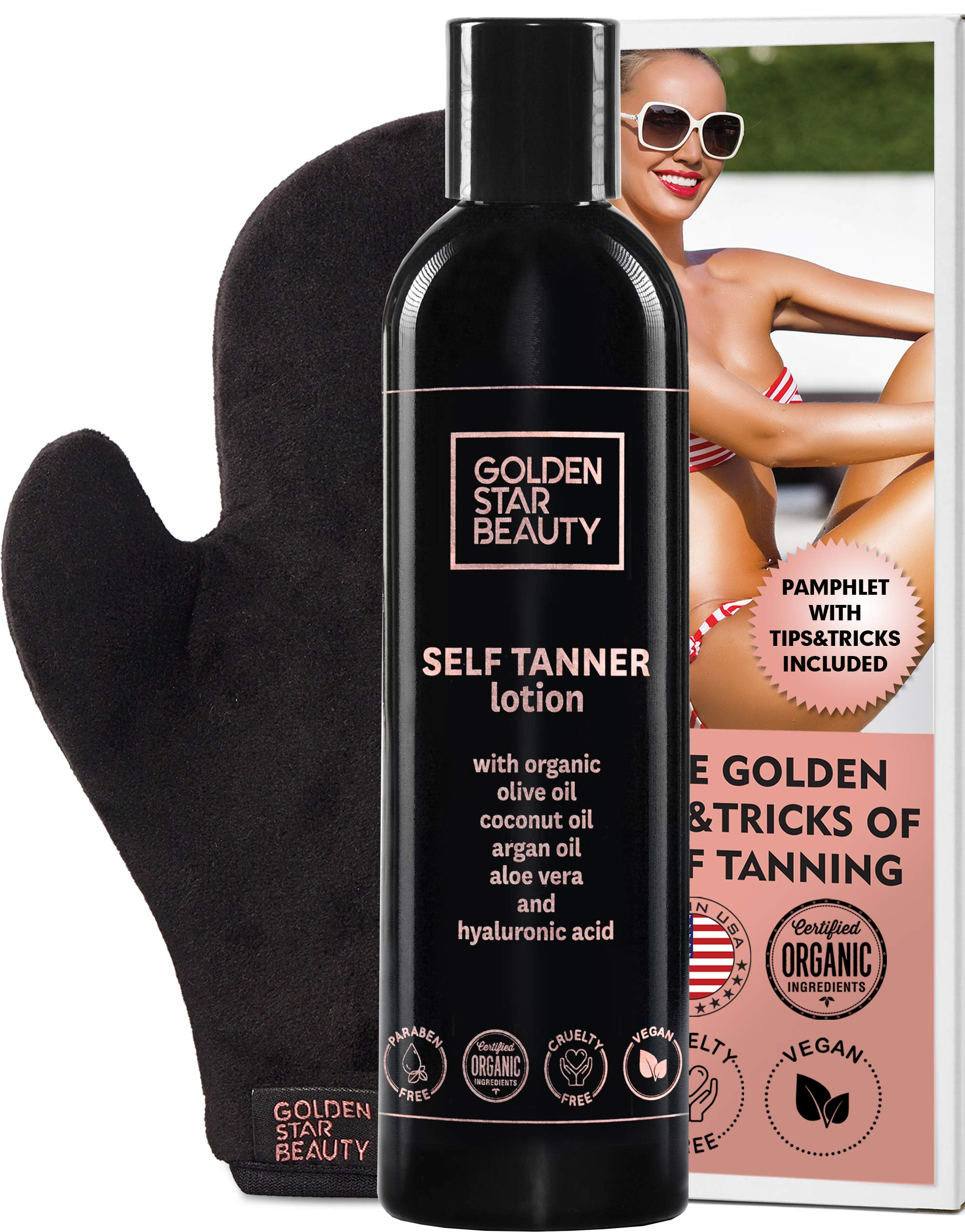 Self Tanner with Tanning Mitt - Sunless Tanning Lotion with Organic Oils Gradual Body Bronzer for Light or Medium Tan 8.0 fl.oz …