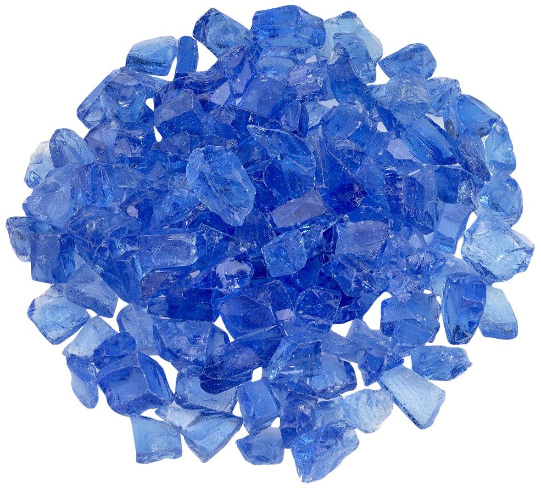 American Fireglass Light Blue Recycled Fire Pit Glass - Medium (18-28Mm), 20 lb. Bag