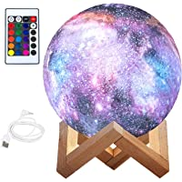 BRITOR Moon Lamp Night Light,16 Colors LED Moon Light with 4 Modes USB Charging and Wooden Stand,Remote & Touch Control…