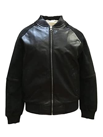 01cf0c4e5 Jakewood Real Leather Bomber Spring Jacket Suede Sleeves Coat ...