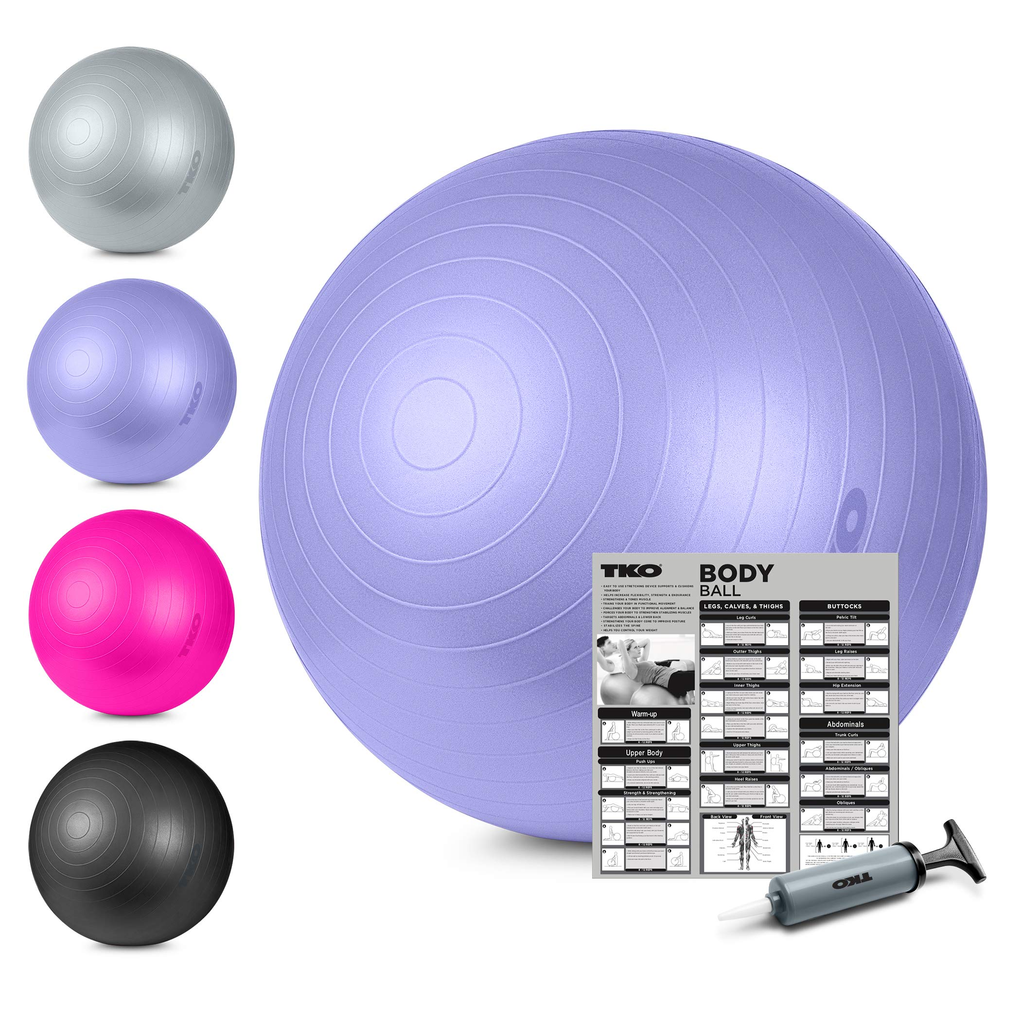 TKO Stability Exercise Ball - Multiple Sizes- for Stability, Fitness, Office, Balance & Yoga- Workout Guide & Pump Included- Anti Burst- Professional Quality (Purple, 65 cm)