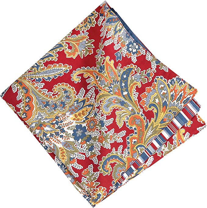 C F Home Rhapsody Paisley Napkin Set Of 6 Red Gold And Blue Paisley Cotton 20 X 20 Machine Washable Dinner Cloth Napkin White Green Blue Red Yellow Home Kitchen