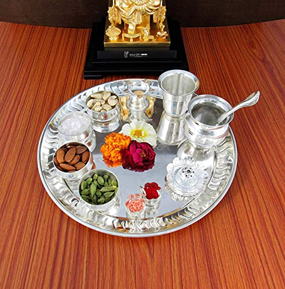 GoldGiftIdeas 12 Inch Premium Silver Plated Pooja Thali Set, Occasional Gift, Pooja Thali Decorative, Wedding Gift Puja Articles at amazon