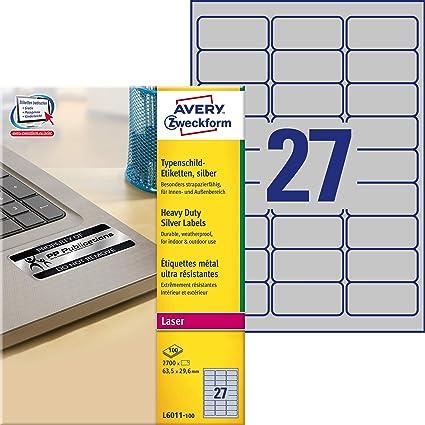Avery España L6011-100. Caja de 2700 etiquetas plata de poliéster 63.5 x 29.6 mm: Amazon.es: Oficina y papelería