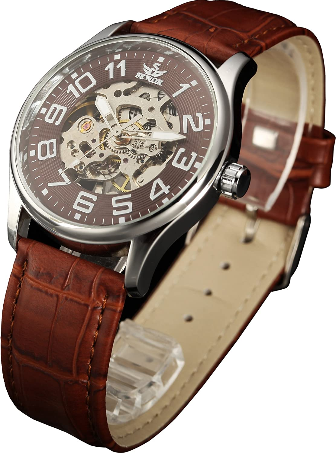 Sewor Mens Skeleton Transparent Mechanical Watch Brown Leather Skeleton Movement