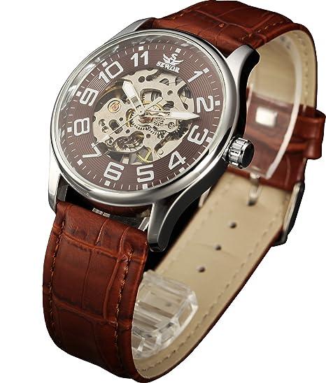 SEWOR reloj para hombre esqueleto reloj mecánico transparente Esqueleto de piel color marrón movimiento