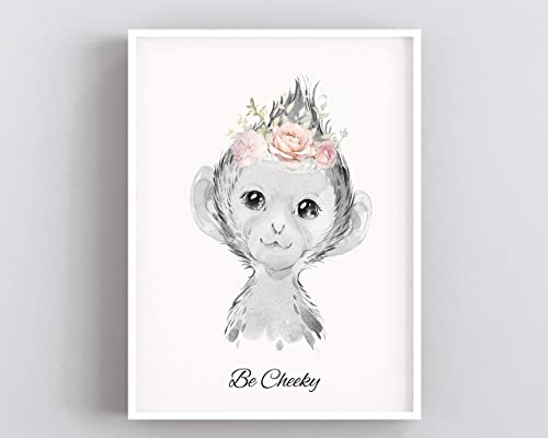monkey print nursery  black and white a4 gloss poster picture UNFRAMED