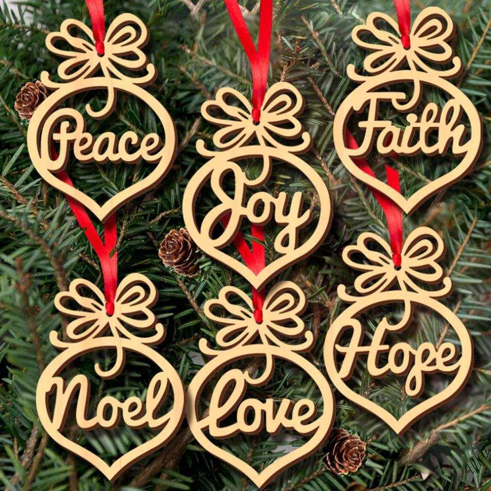 Christmas Decorations, WensLTD 6Pcs Wooden Ornament Xmas Tree Hanging Tags Pendant Decor