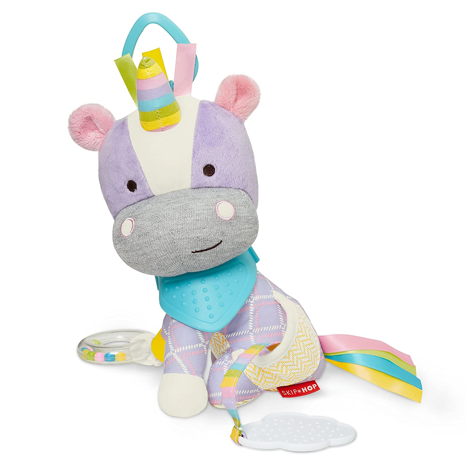 Skip Hop Bandana Buddies Baby Activity and Teething Toy with Multi-Sensory Rattle and Textures, Unicorn 306210