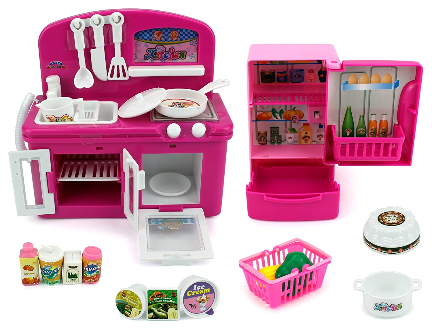 e2630c077dac Amazon.com: Mini Dream Kitchen Children's Kid's Toy Kitchen Playset w/  Accessories: Toys & Games