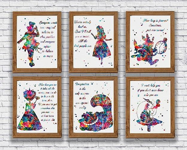 Amazoncom Alice In Wonderland Quote Watercolor Print Set Alice