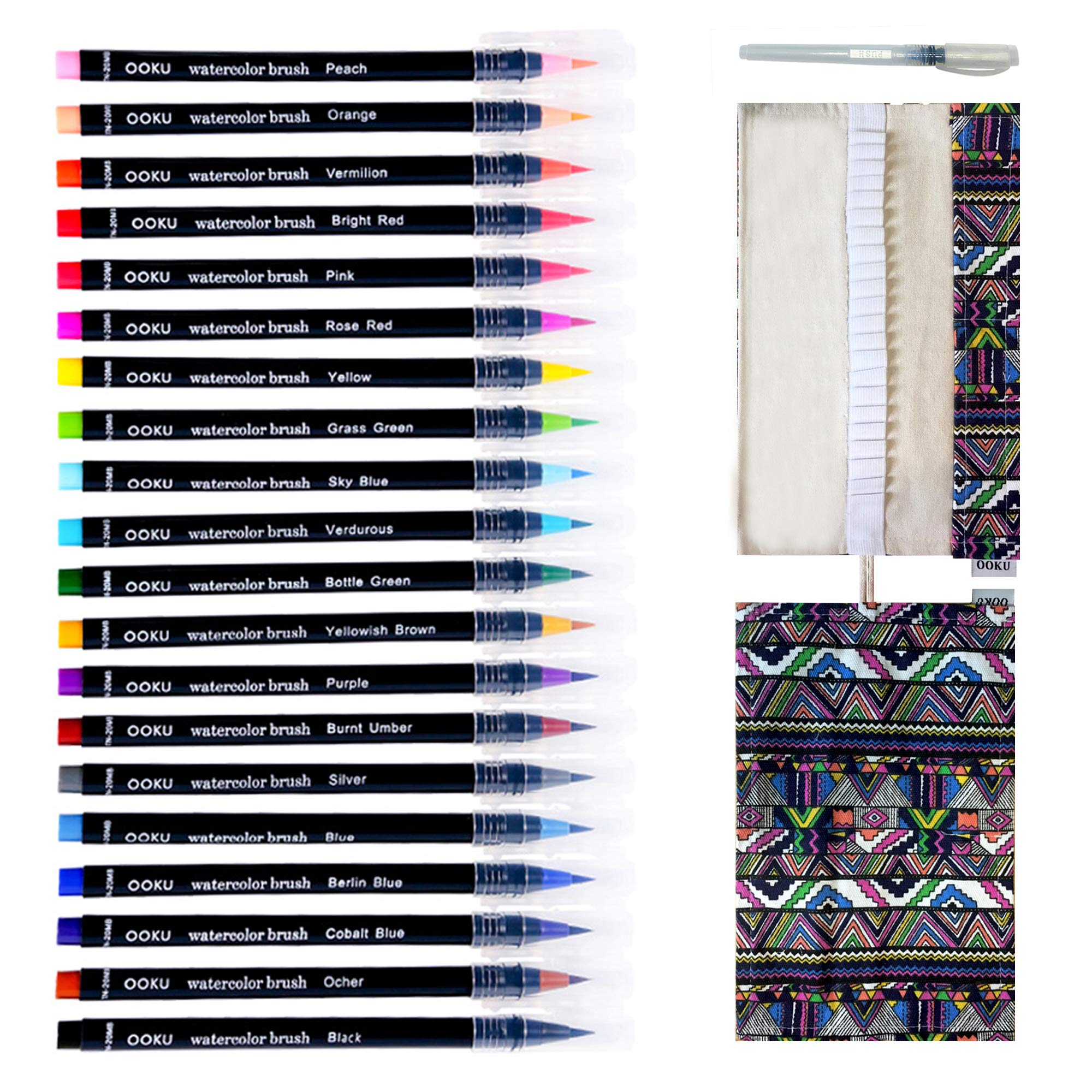 Watercolor Brush Pens - 20 Pre-Filled Water Color Brush Markers with Real Brush Tips for Water Coloring - Bonus Cloth Canvas Wrap and Water Brush Pen - Odor & Oil Free - 22 Piece Set by OOKU