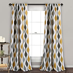"Lush Decor Mid Century Geo Room Darkening Window Curtain Panel Pair, 84"" x 52"", Gold & Gray"