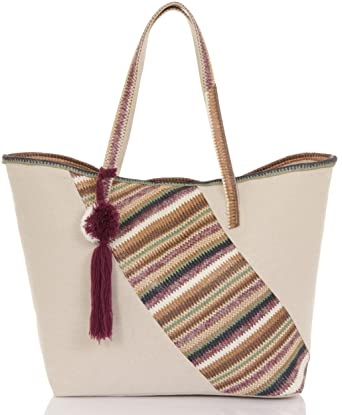a79caba38 Ladies Large Canvas Summer Beach Tote Shopping Bag, Plum Chevron Patch:  Amazon.co.uk: Clothing