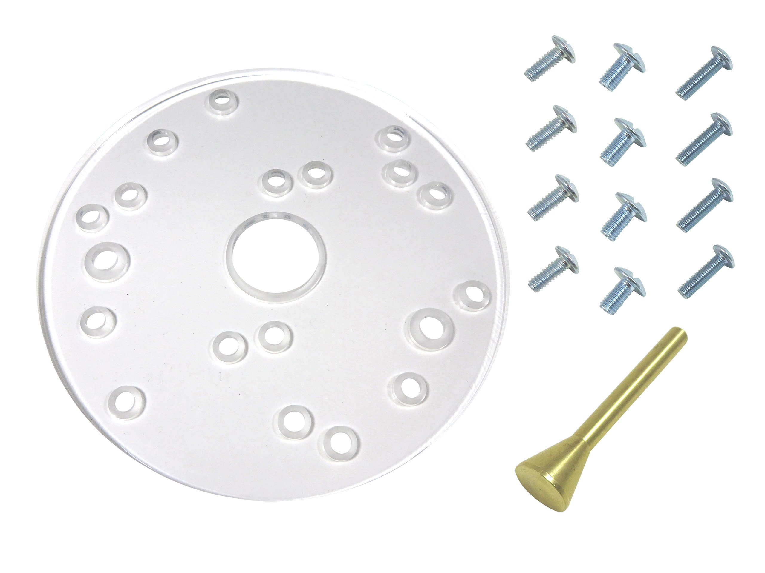 Taytools 300005 Universal Router Base Plate, 6-1/2 Inch Diameter, 5/16 Inch Thick, Fits most 1-2 HP Porter Cable, Ryobi, Bosch, Makita, Sears, Fein, Milwaukee, Freud, Hitachi, Elu and Dewalt Routers by Taytools