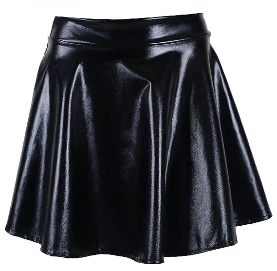 e728c0ee5f Women's Liquid Metallic Skirt Wet Look Flared Skater Skirt Dress, Black,  One Size
