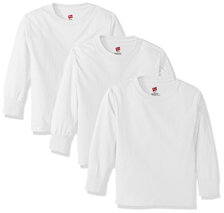a6bdb47660d1 Amazon.com  Hanes Big Boys  Tagless Long Sleeve Tee (Pack of 3)  Clothing
