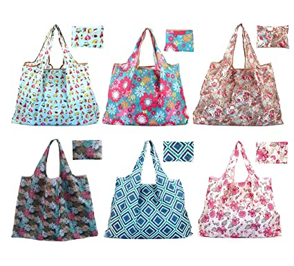 6625a1cbf40 Amazon.com  Bekith Set of 6 Foldable Reusable Grocery Bags Eco Friendly  Large Grocery Tote Bag