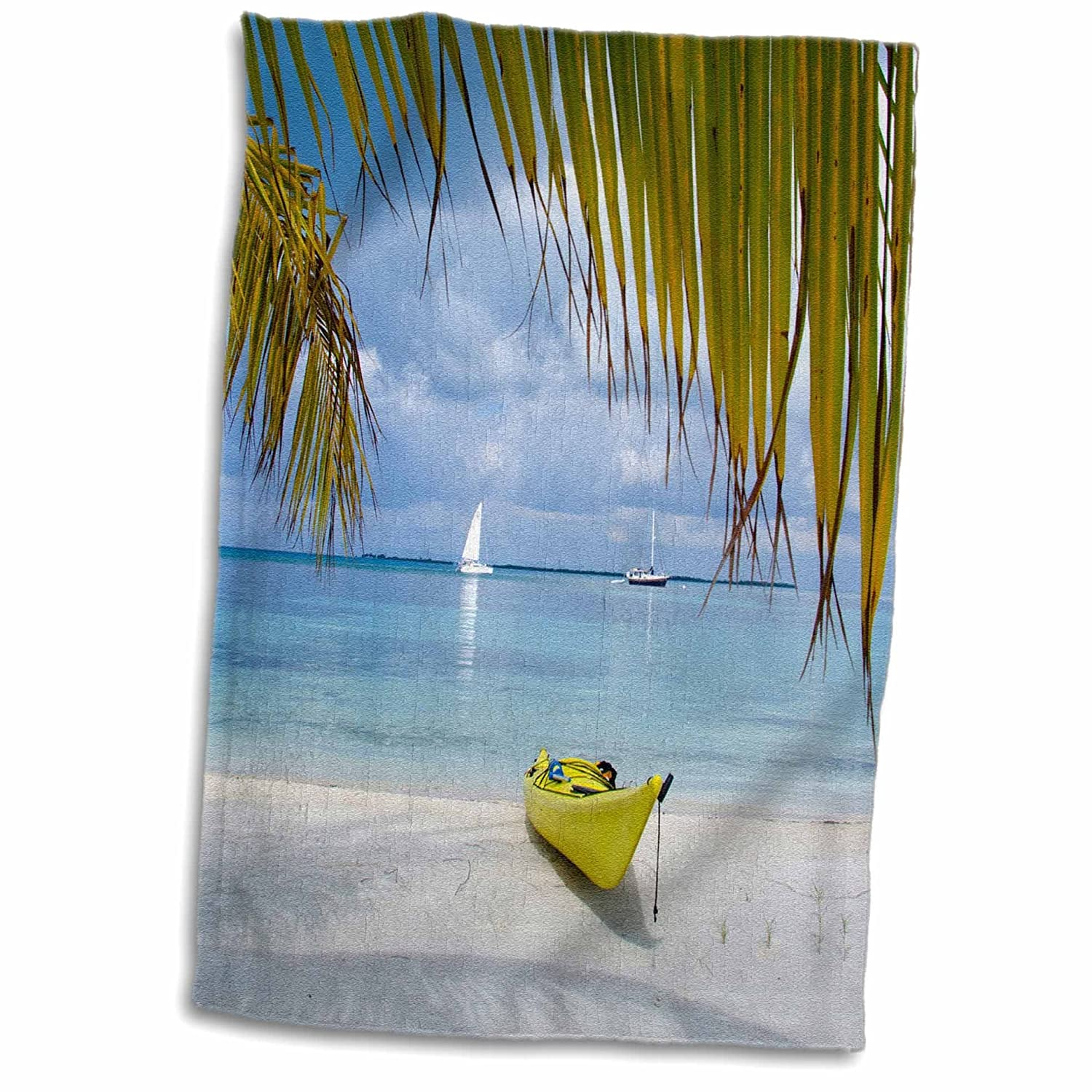 TWL/_187666/_1 Towel 15 x 22 Multicolor Kayak on The Beach of Southwater Cay 3D Rose Belize Caribbean Sea