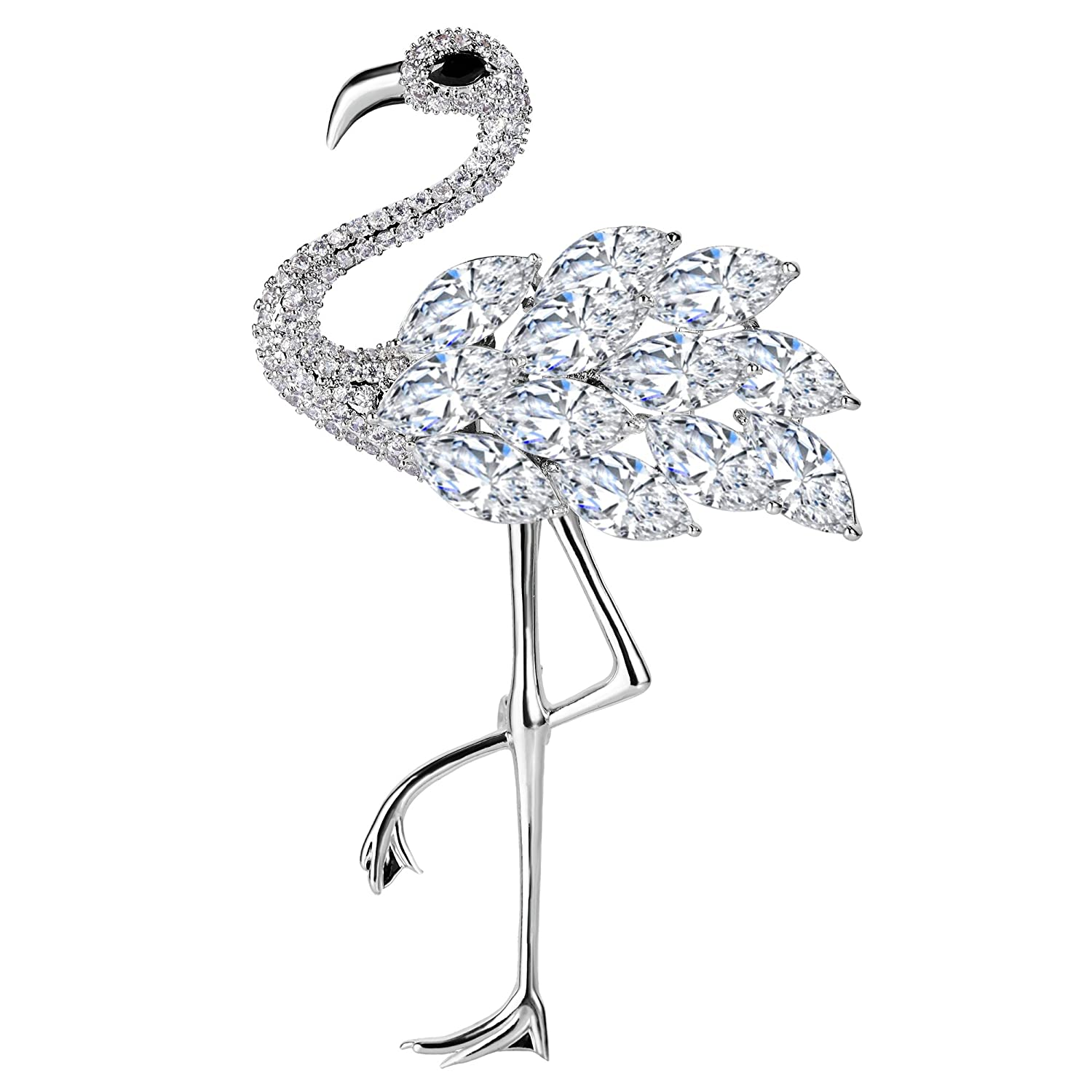 EVER FAITH Women's Full Zircon Gorgeous Elegant Flamingo Bird Animal Brooch Clear Silver-Tone N09996-1